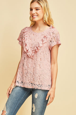 Chloe Lace Ruffle Top - Dusty Rose