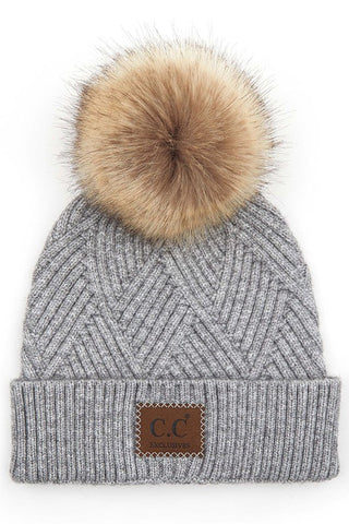 C.C Heather Pom Beanie - Light Grey