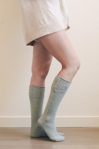 Pointelle Ribbed Socks - Light Grey/Blue