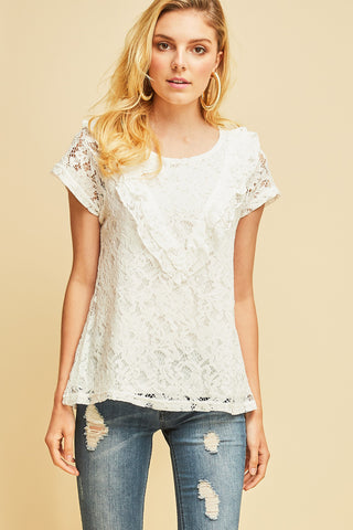 Chloe Lace Ruffle Top - Off White