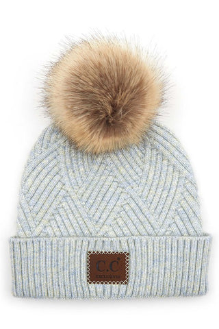 C.C Heather Pom Beanie - Light Blue