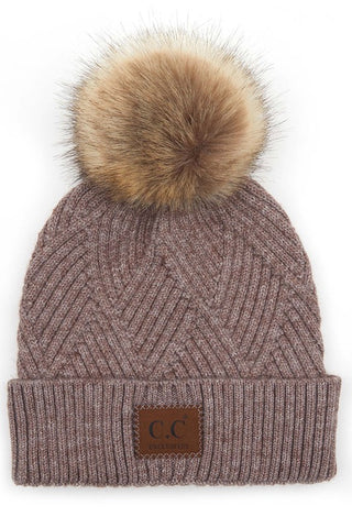 C.C Heather Pom Beanie - Taupe