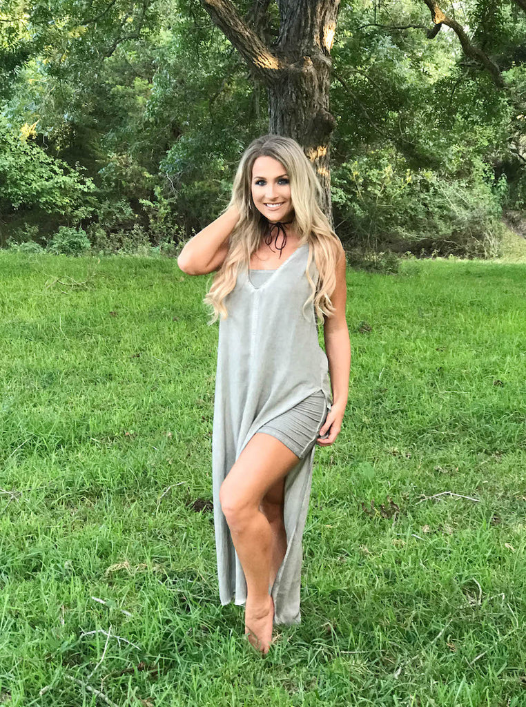 Vintage V-neck Double Slit Dress