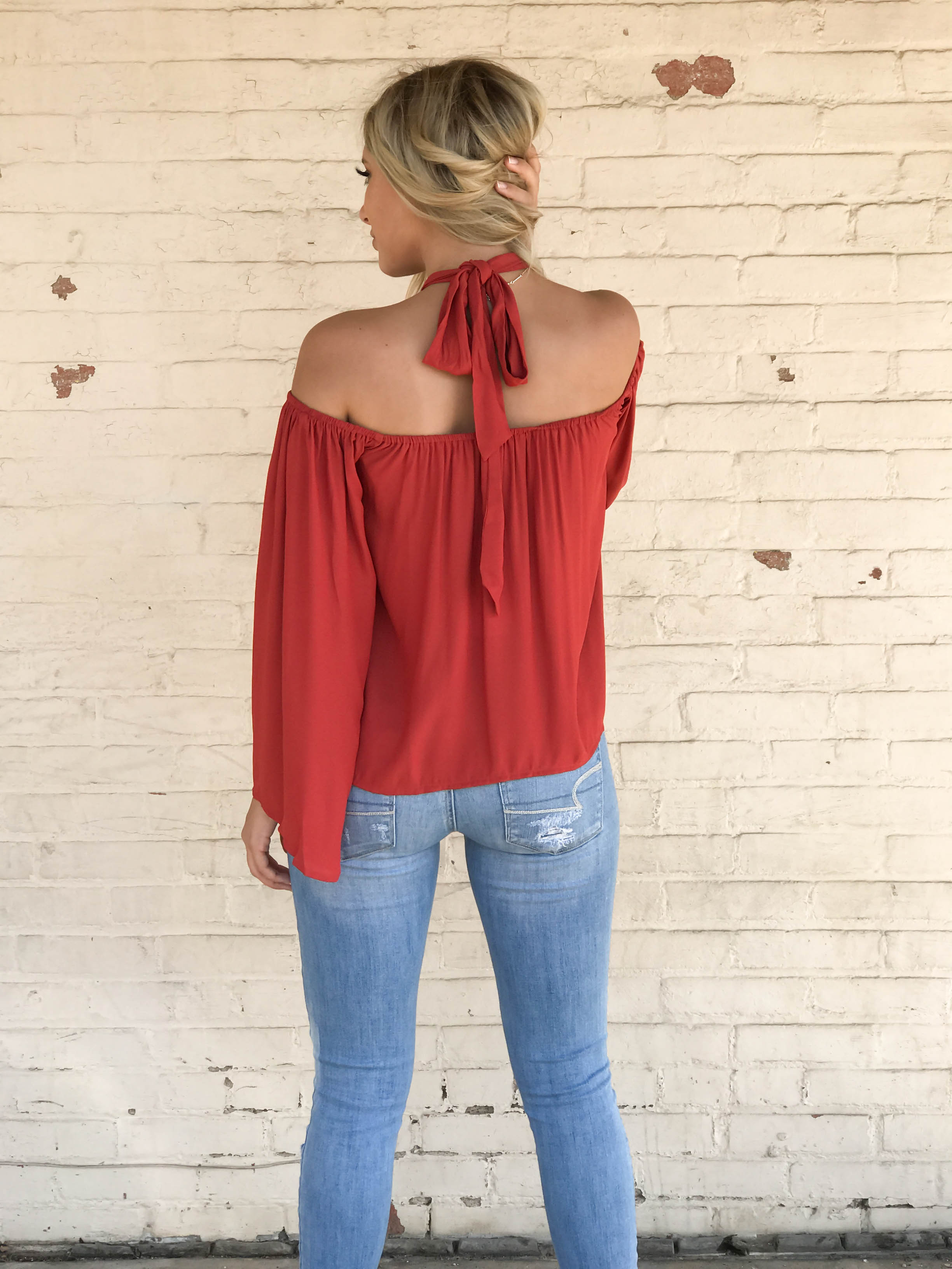 Long Sleeve Off The Shoulder Neck Tie Blouse