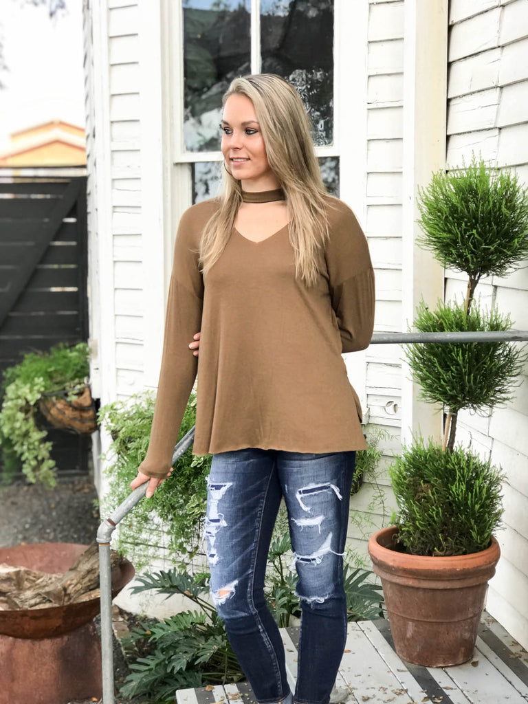 Mock Neck Long Sleeve Knit Top