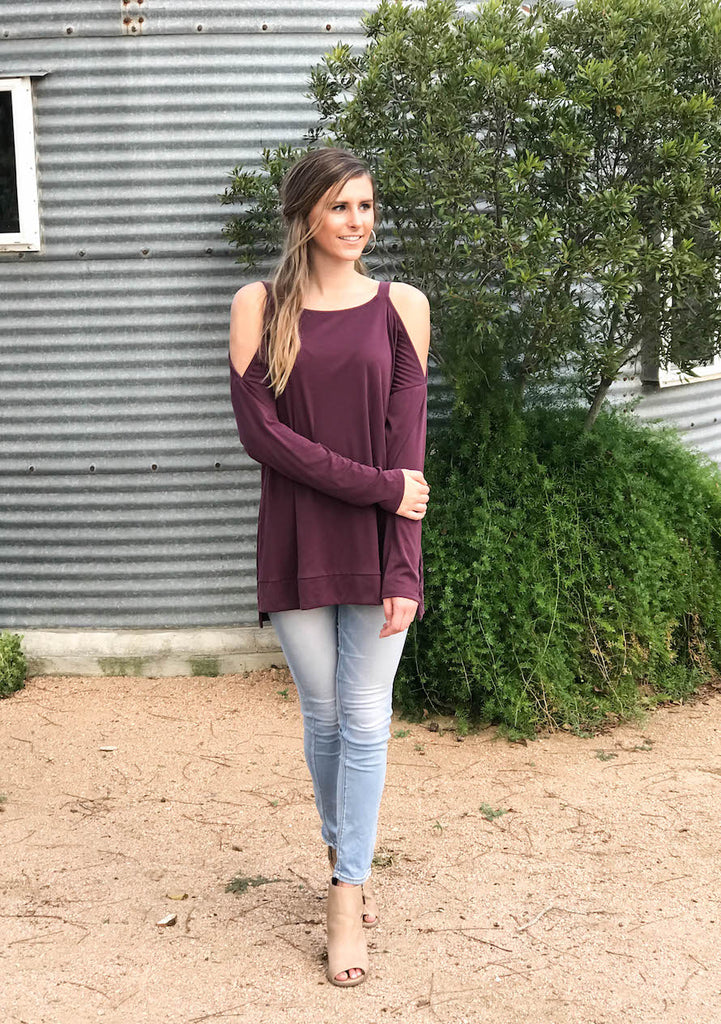Cold Shoulder Slit Top