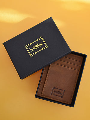 Solomac RFID Blocking Minimalist Leather Slim Wallet - Brown
