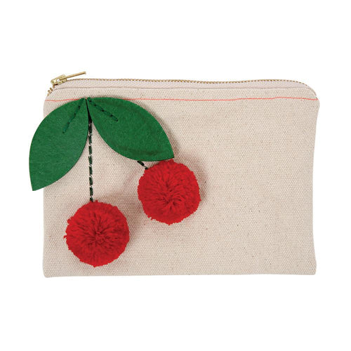 Cherry Pom Pom canvas Pouch - lovefactorynewyork