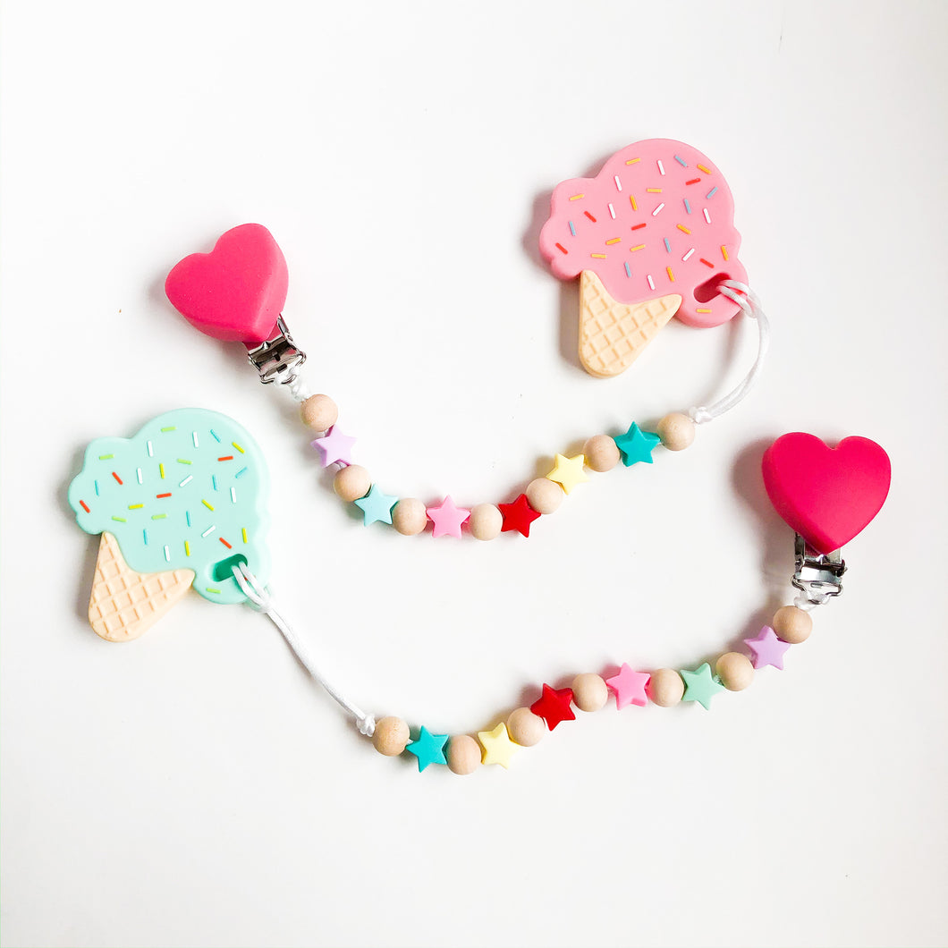 cute heart baby pacifier clip with ice cream teething toy set