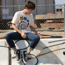 "Kawaii pop art ""spiral cat rainbow circle"" Unisex t-shirt natural cream - lovefactorynewyork"