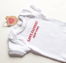"""LOVE FACTORY NEW YORK"" baby onesie white red logo silk screen printed - lovefactorynewyork"