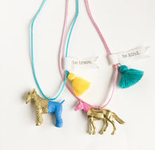 "kids toy necklace Animal lovers message ""be kind"" and ""be brave"" - lovefactorynewyork"