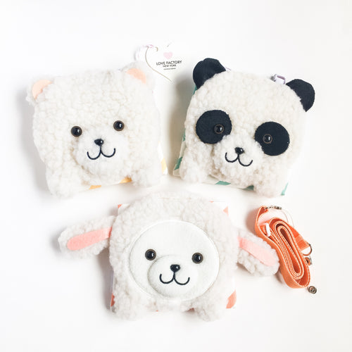 Kids Animal Pouch Pochette 2way Panda Lamb Bear Bunny