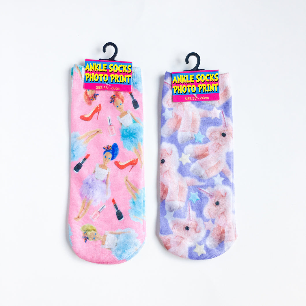 kawaii socks 2pc set unicorn and barbie photo print - lovefactorynewyork