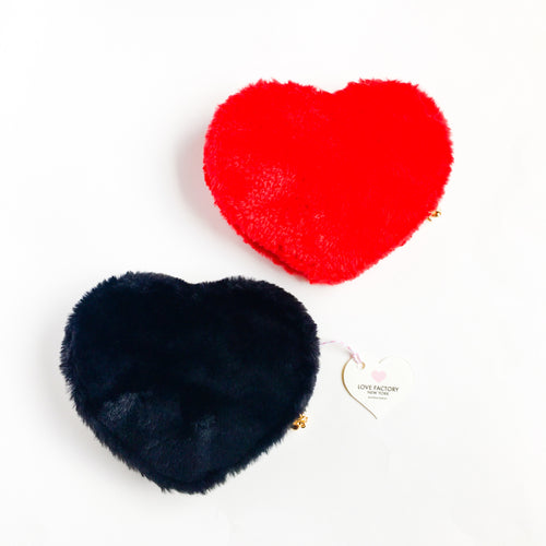 Kawaii Heart shaped Fur Pouch Red or Black