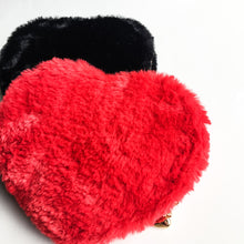 Kawaii Heart shaped Fur Pouch Red or Black - lovefactorynewyork