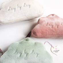 "sweet soft cuddly cloud shaped pouch ""day by day"" - lovefactorynewyork"