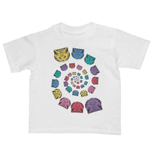 "Kawaii pop art illustration ""spiral cat rainbow circle"" kids t-shirt white - lovefactorynewyork"