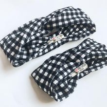 Matching headband turban style Mom and Daughter Stylish Modern White Black plaid check - lovefactorynewyork