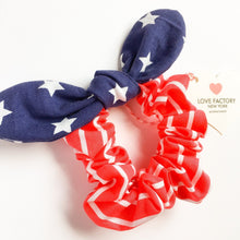 girl hair scrunchies american flag-bunny bow scrunchies-patriotic hair bow-kid hair bow-girl ponytail hoper-girls hair tie love factory ny - lovefactorynewyork