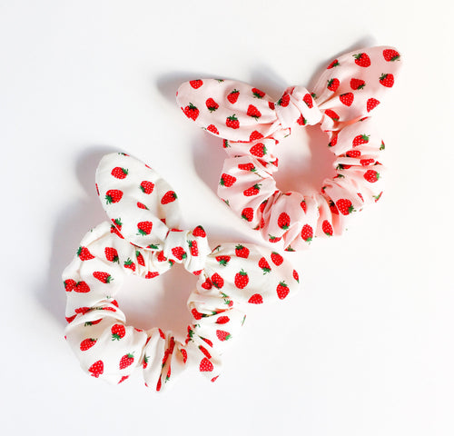 bunny bow hair scrunchy kawaii strawberry - lovefactorynewyork