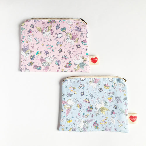 Kawaii pouch pastel pegasus pink or blue-unicorn girly yume kawaii-pencil case-cosmetic pouch-cosmetic purse-love factory NY