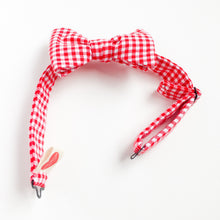 NYC hipster kids bow tie gingham check Red - lovefactorynewyork