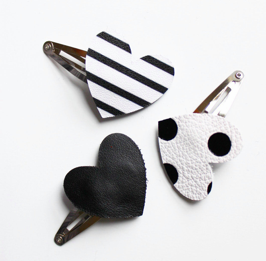 Love Factory Girl Heart Leather hair clip 3pc set black white monochrome - lovefactorynewyork