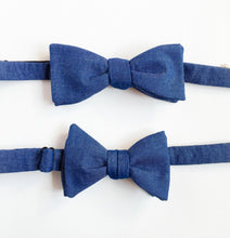 Daddy and son matching bowties denim matching bowtie-mens bowtie-kids bowtie-children bowtie-modern hipster-love factory NY - lovefactorynewyork
