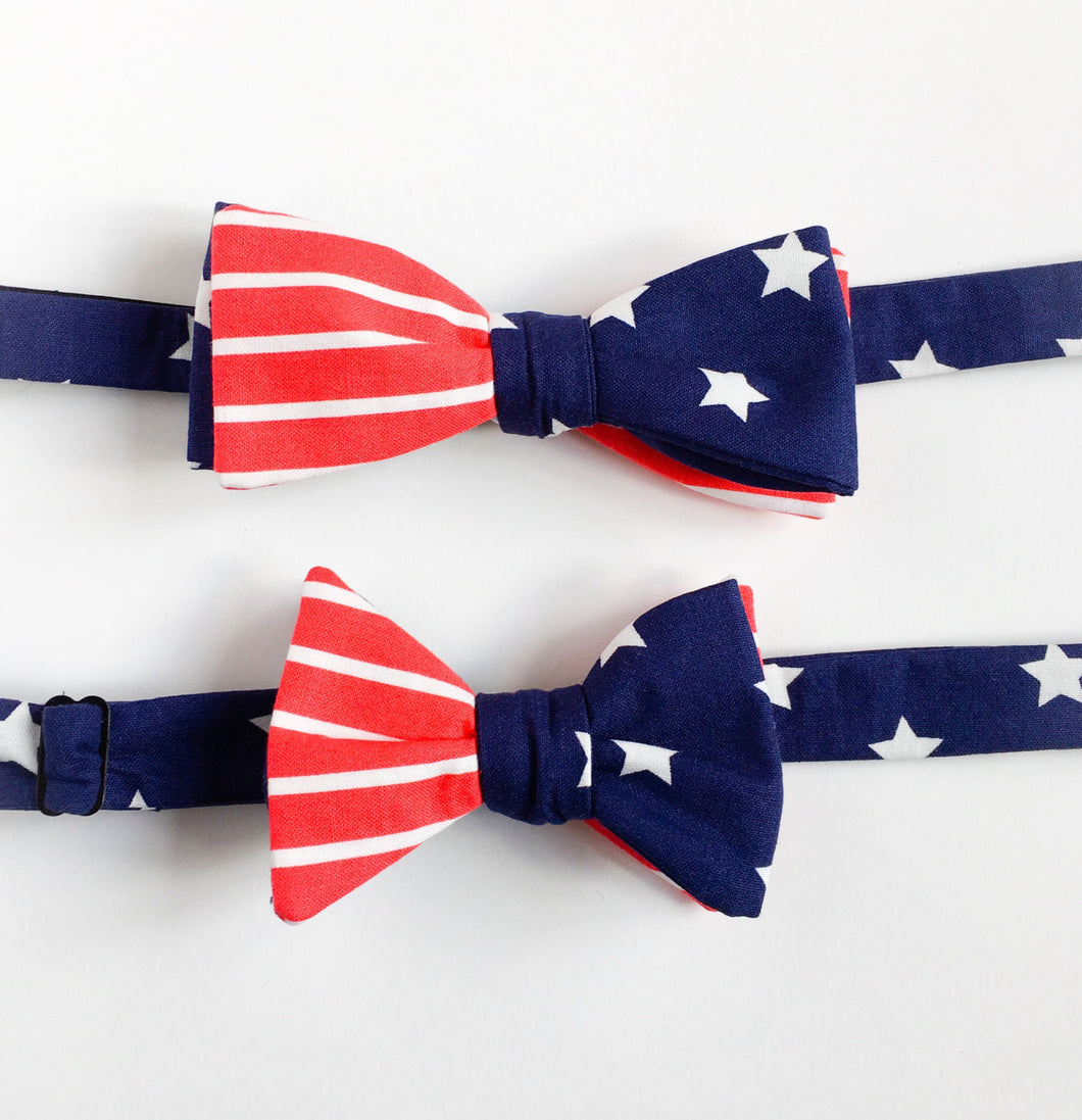 Daddy and son matching bowties American flag matching bowtie-mens bowtie-kids bowtie-children bowtie-modern hipster-love factory NY - lovefactorynewyork