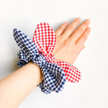 Bunny ear bow hair scrunchies retro gingham check red or navy-bow scrunchies-kawaii chou chou-ribbon scrunchie-hair ties-Love Factory NY - lovefactorynewyork