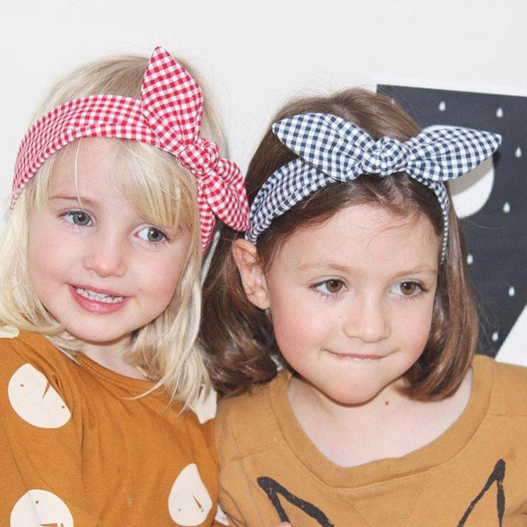 stylish girls head wrap bunny bow on top retro sweet gingham check