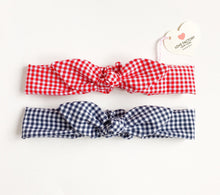 stylish girls head wrap bunny bow on top retro sweet gingham check - lovefactorynewyork