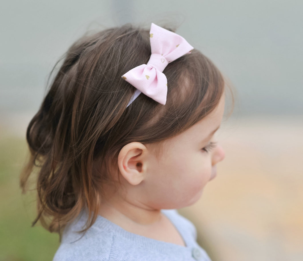 Baby head band sweet heart pink gold