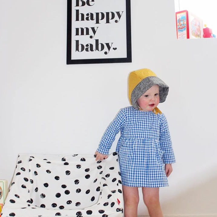 Baby sun bonnet swiss dot mustard retro vintage sweet girl hat - lovefactorynewyork