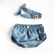 baby girl bloomer set denim chambray-baby bloomer set-baby girl head wrap-baby shower gift-baby girl clothes-baby girl outfit-love factory - lovefactorynewyork