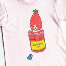 kawaii girls t shirt strawberry bathing illustration pink cotton-cids t-shirt-girls clothing-kids graphic tee-gift for girls-love factory - lovefactorynewyork