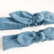 "Mom and daughter matching headbands Girl power ""we can do it"" Denim Chambray - lovefactorynewyork"