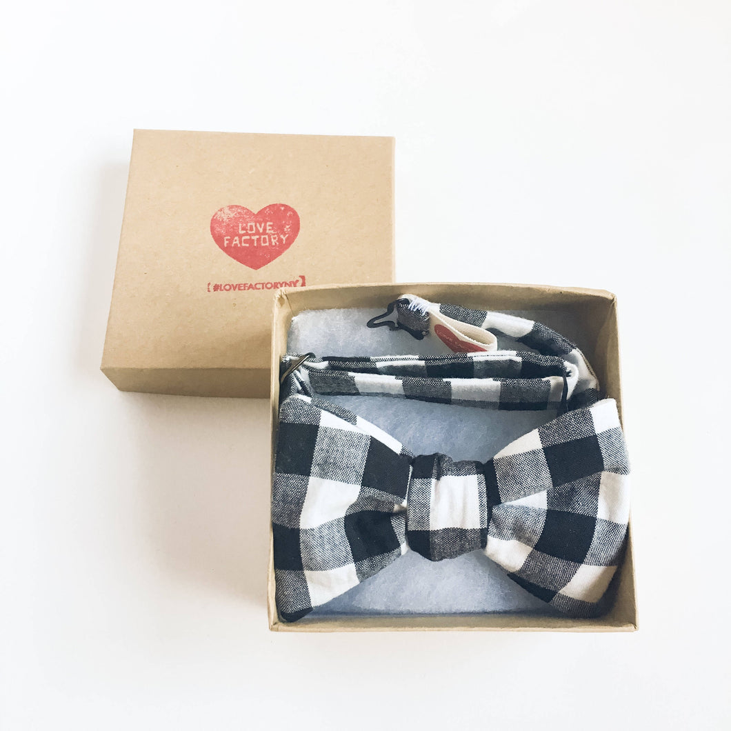 boy bowtie black white plaid-modern kids bowties-urban kids-children stylish-boy bowtie-hipster kids bowtie Love Factory NY - lovefactorynewyork