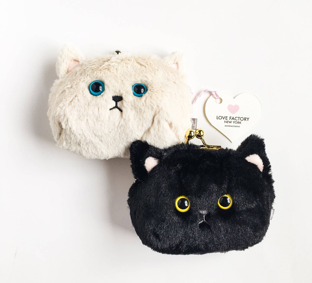 Kawaii Cat face coin purse black cat cream cat-kitty purse-cat pouch-gift for cat lover-kitty cat-coin purse-coin case-love factory NY - lovefactorynewyork