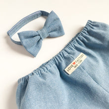 Baby toddler boy Bowtie denim chambray light blue-toddler boy bowties-baby velcro bowties-stylish baby bowties-hipster baby love factory ny - lovefactorynewyork