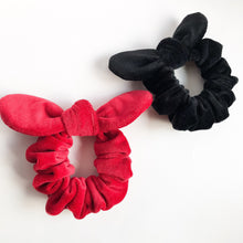 Kids velvet bunny bow hair scrunchie black or red - lovefactorynewyork