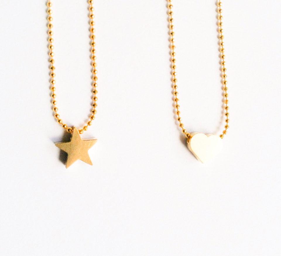 Kids Jewelry Tiny Gold Heart or Star Girl Necklaces-girls necklace-gift for girl-flower girl necklace-children necklace- Love Factory NY - lovefactorynewyork