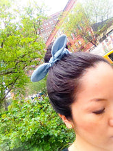 Modern Hair Scrunchies denim chambray-hair accessories-bunny ear bow kawaii chou chou-bow scrunchies-bow hair holders-Love Factory New York