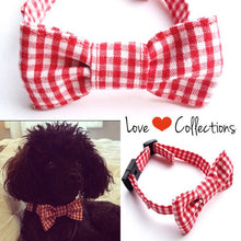 Dog bow tie Collar Gingham Check Red-dog collar-dog bow-dog bow ties-gift for dogs-pet collars-dog accessories-bowties-love factory ny - lovefactorynewyork