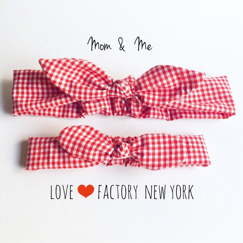 Mommy and me matching head wraps retro bandana gingham check knot bow - lovefactorynewyork