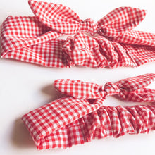 ladies head wrap bandana bow gingham check red or blue-ladies headband-hipster-retro-ladies head wrap-omens headbands-Love Factory New York