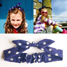 school girl bow headband navy star-girls headband-girl hair accessory-kids headband-kids head wrap-school accessory-love factory ny