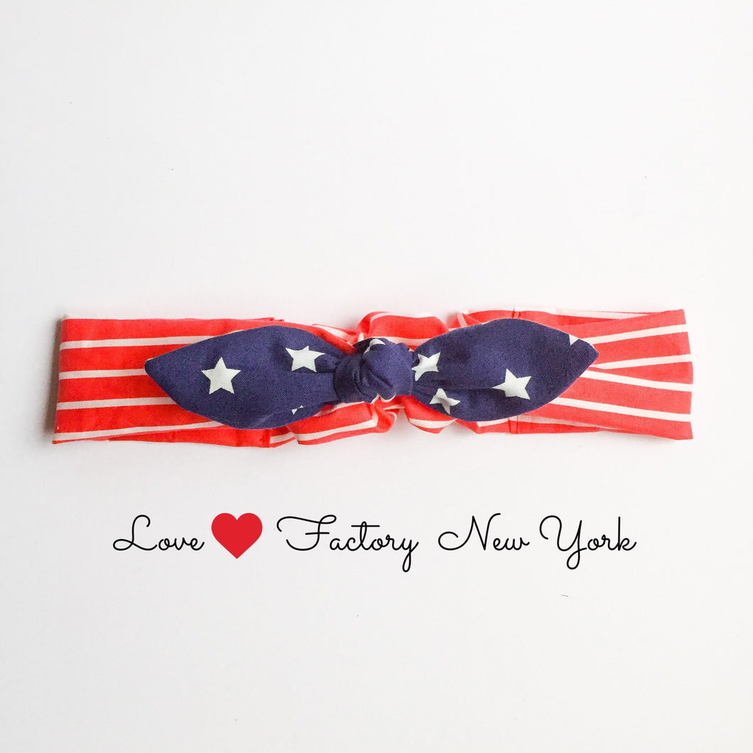 American woman we can do it bandana bow headband - lovefactorynewyork
