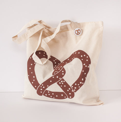 I love Pretzel silkscreened Cotton Canvas tote